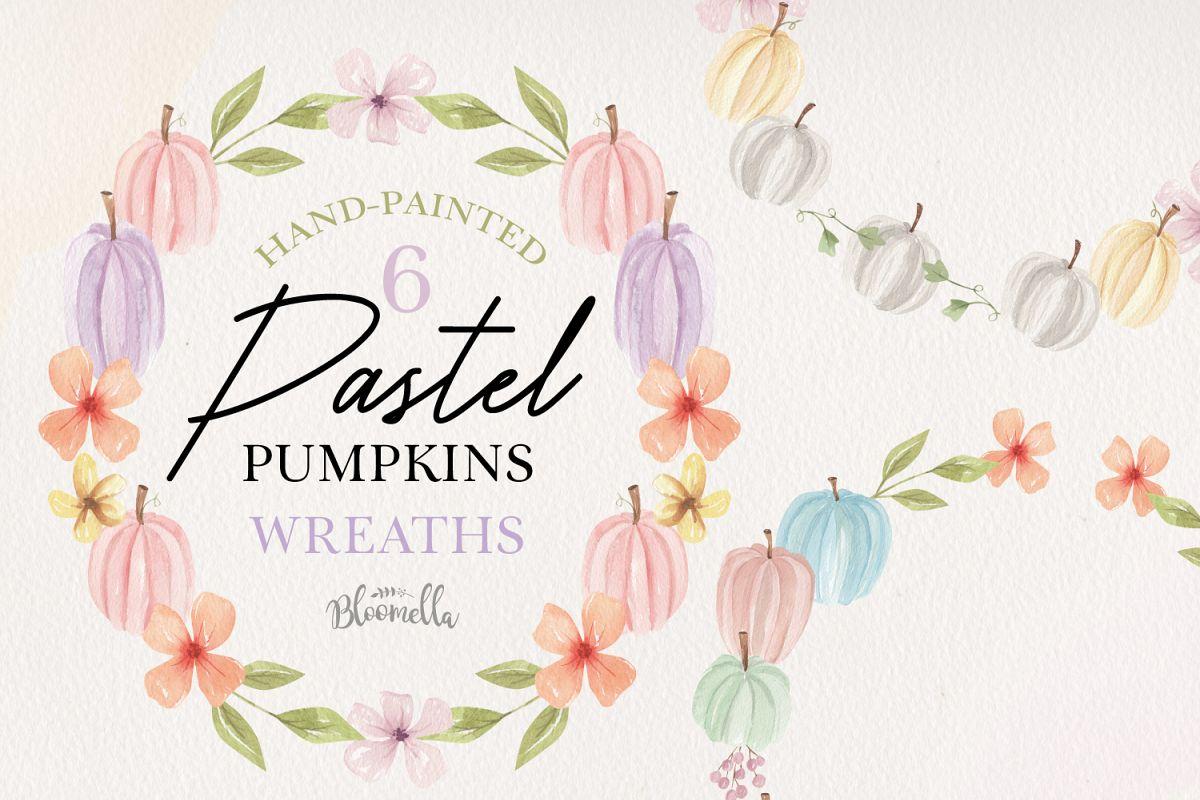 Pastel Pumpkins Wreaths Leaves 6 Wreath Watercolor Fall example image 1