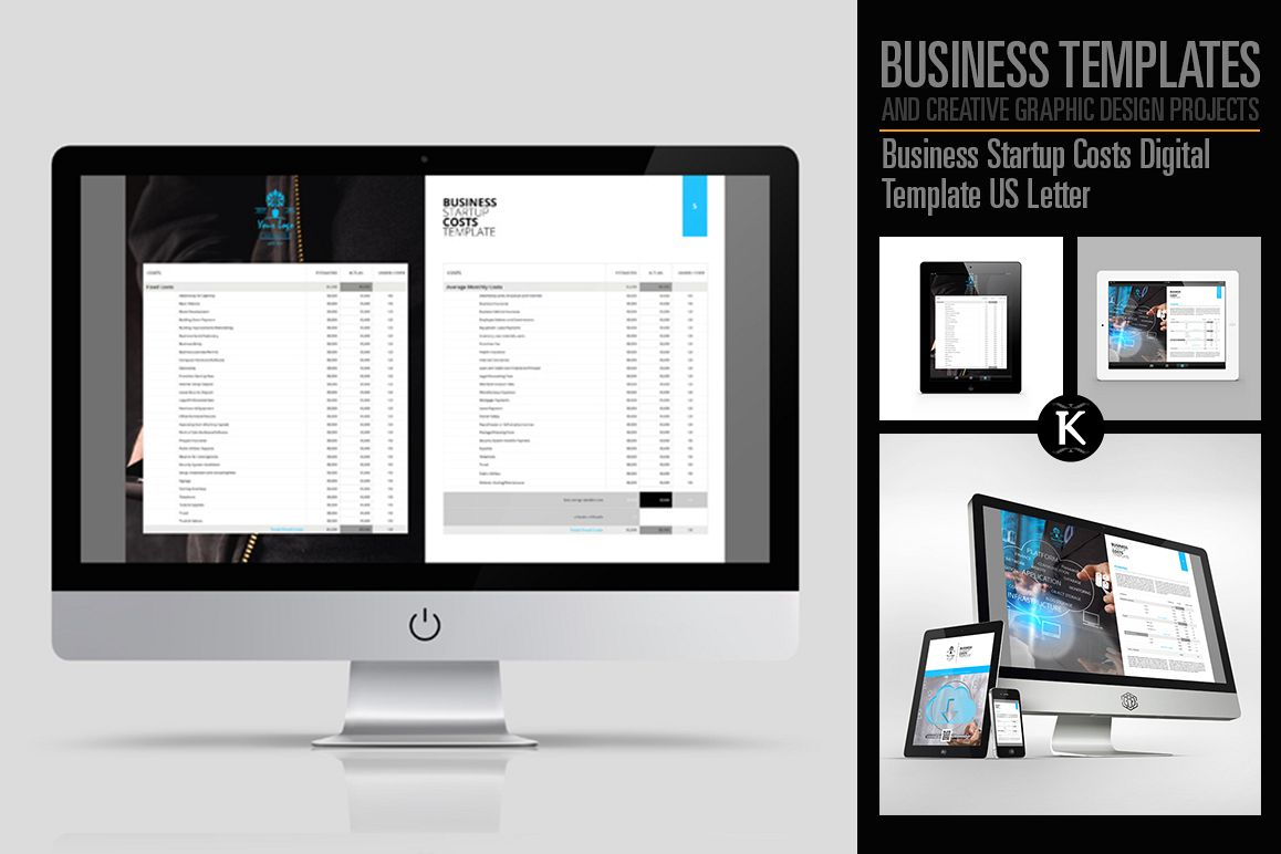 Business Startup Costs Digital Template US Letter example image 1
