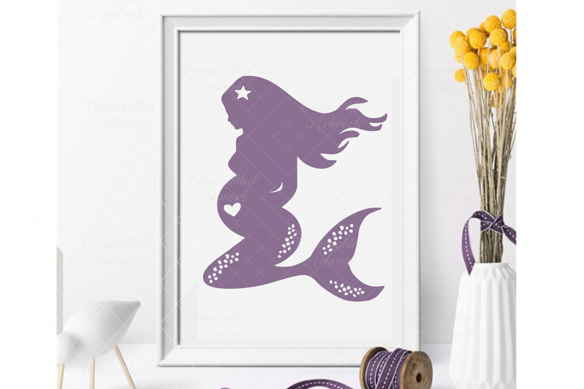 Beautiful mermaid SVG, pregnant mermaid, expecting mommy svg example image 1