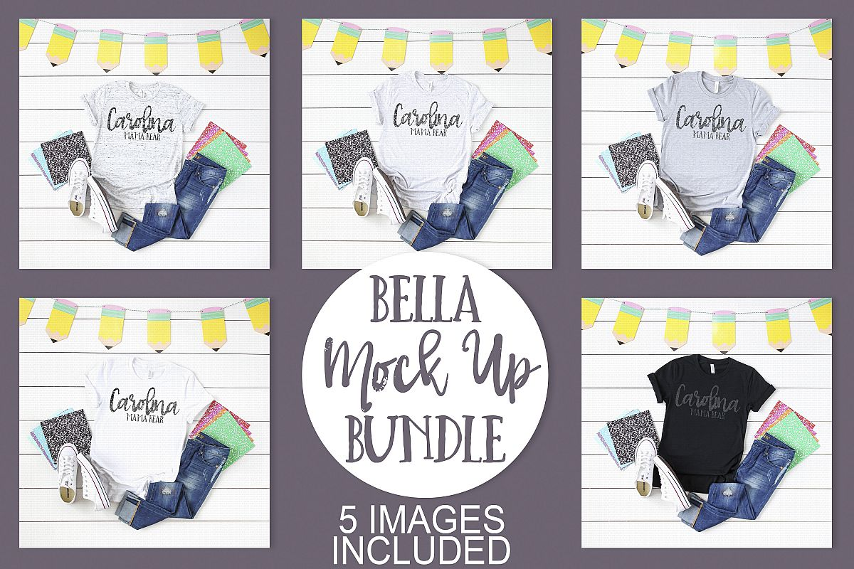 Bella Canvas School Themed Mock Up Bundle example image 1