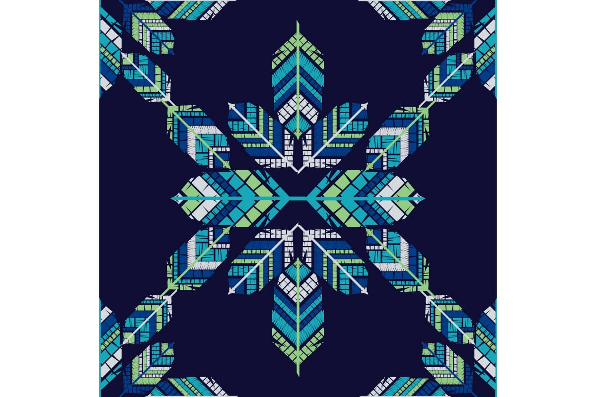 Indian colorful feathers. Set of 10 seamless patterns. example image 1