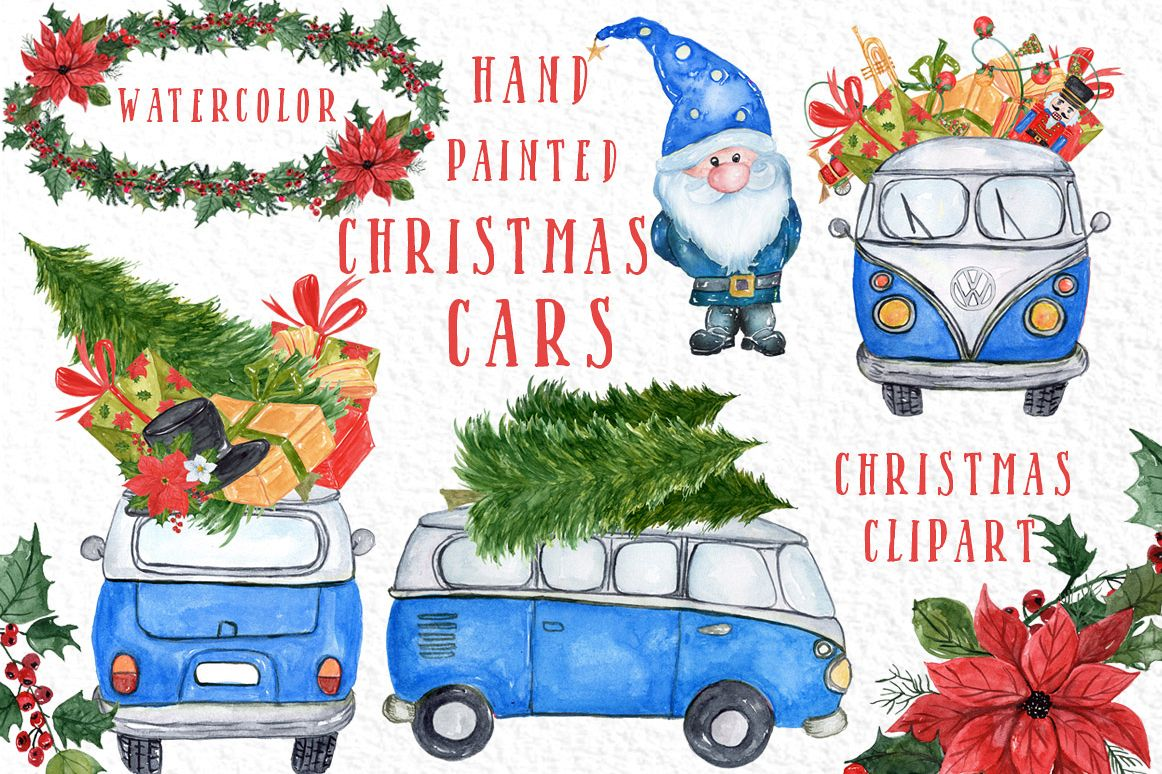 Watercolor Christmas Cars clipart example image 1