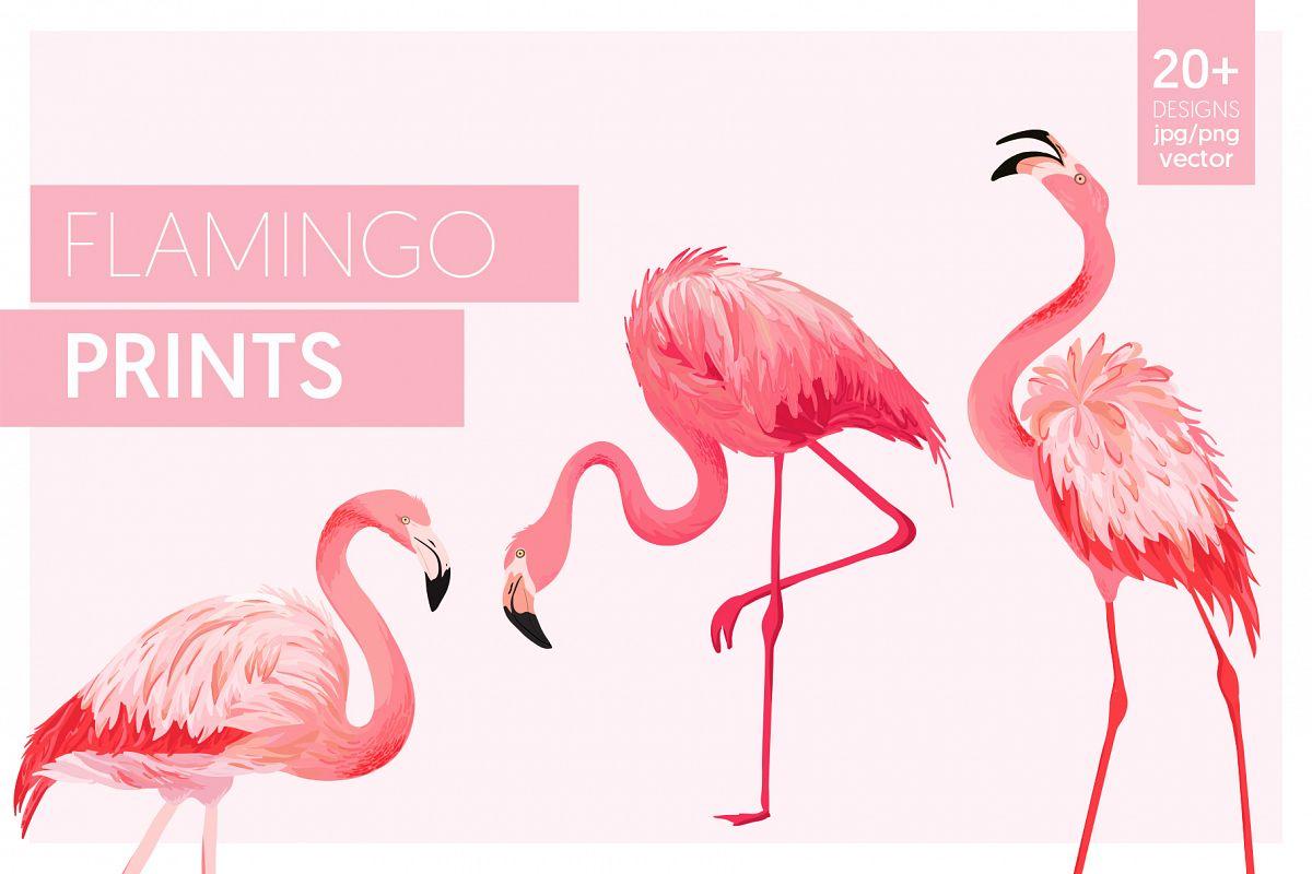 Flamingo and Flowers Design Kit example image 1