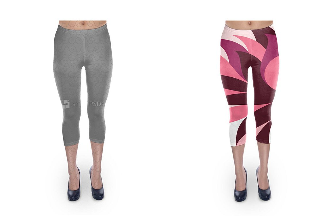 Cropped Legging Design Mockup for Sublimation Cloth Printing - 2 Views example image 1