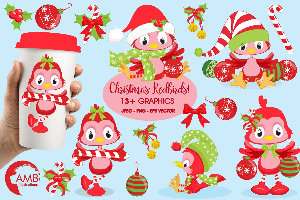 Christmas red birds clipart, graphics, illustrations AMB-193 example image 1