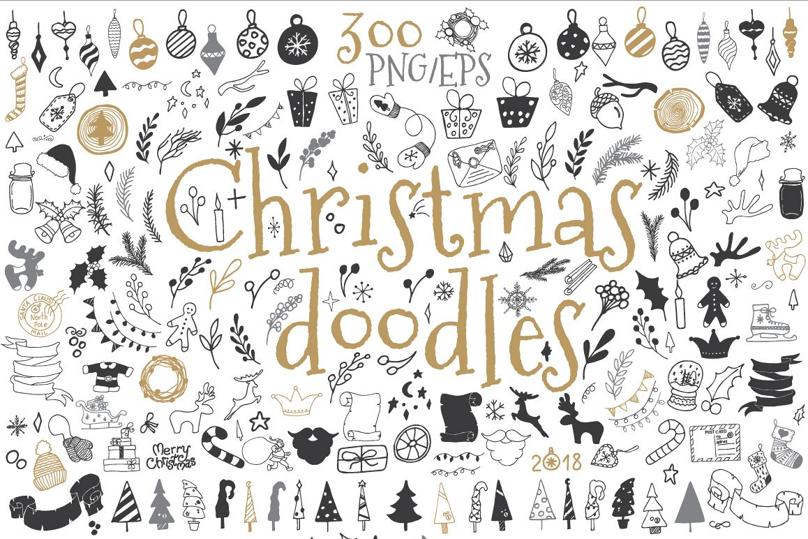 300 Christmas doodle icons and design elements ClipArt example image 1