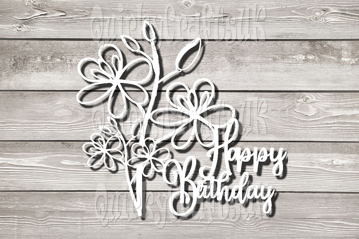 Happy birthday papercutting templates|PNG/SVG/DXF/JPG example image 1