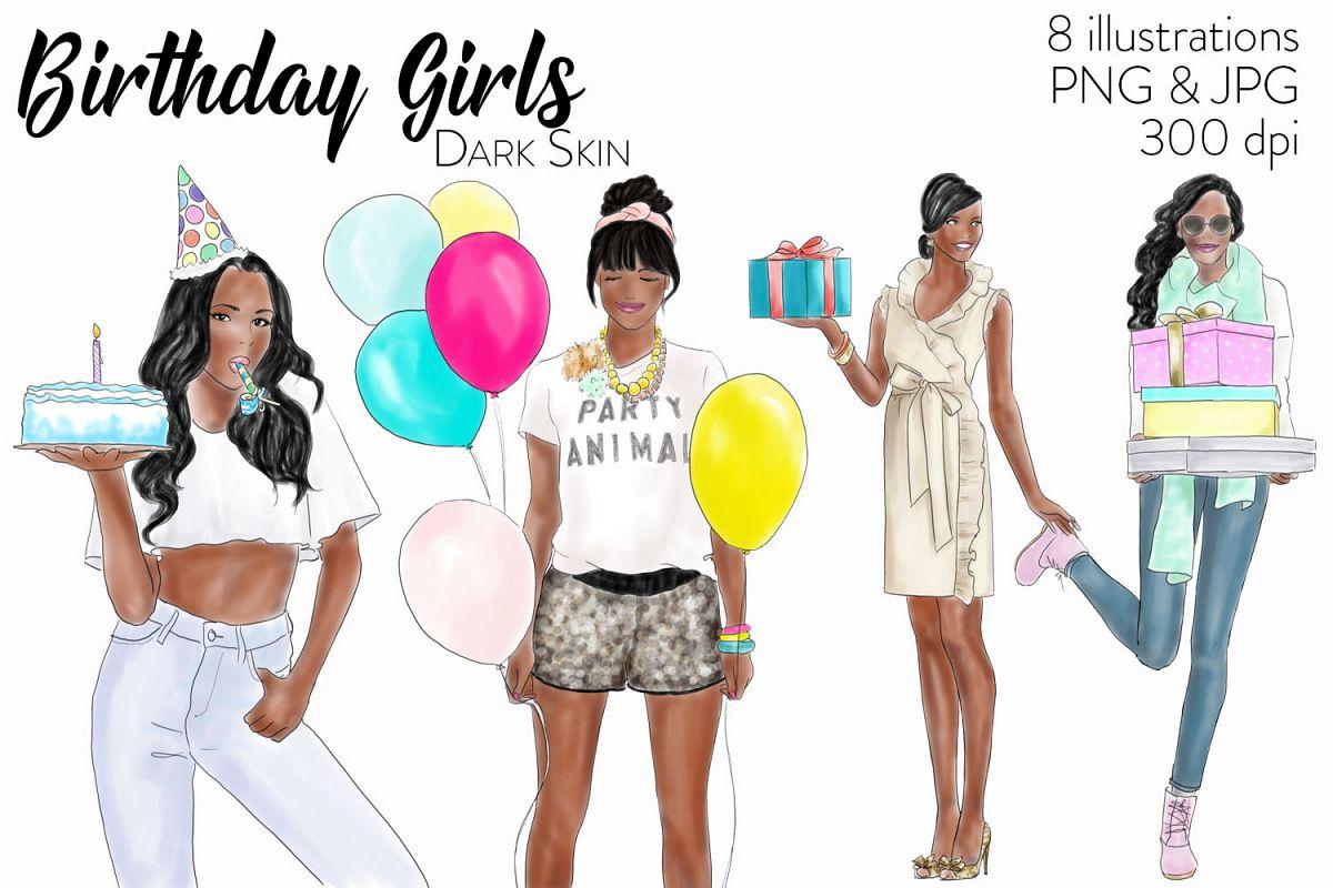 Watercolour fashion illustration clipart - Birthday girls - Dark Skin example image 1