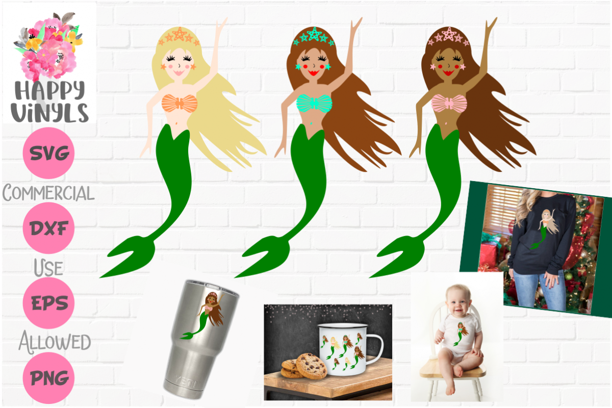 Mermaids SVG Set of 3 Beautiful Mermaids by Happy Vinyls! example image 1