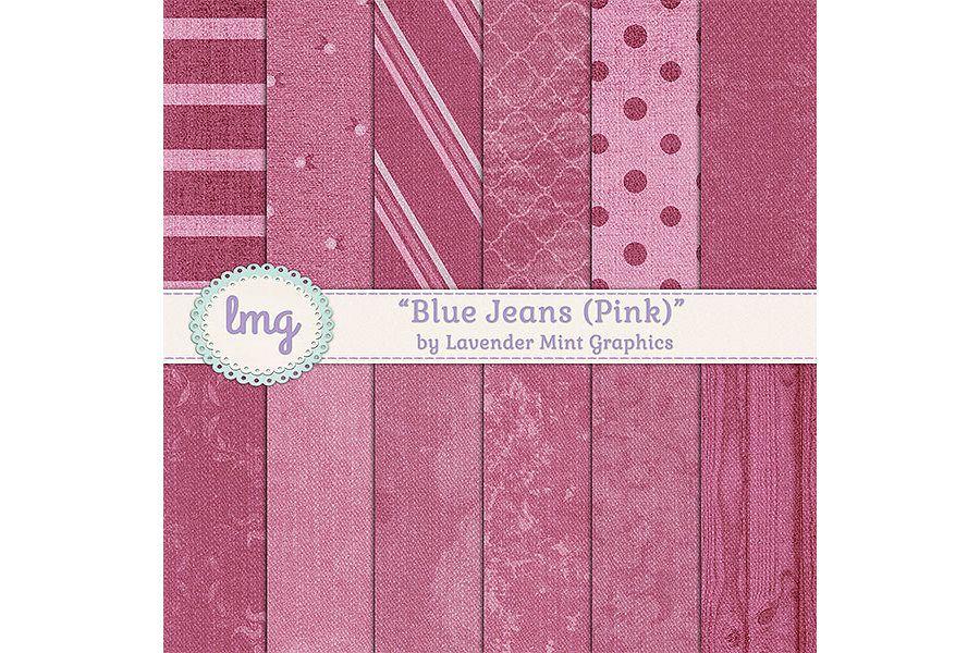 Pink Blue Jean Denim Digital Papers example image
