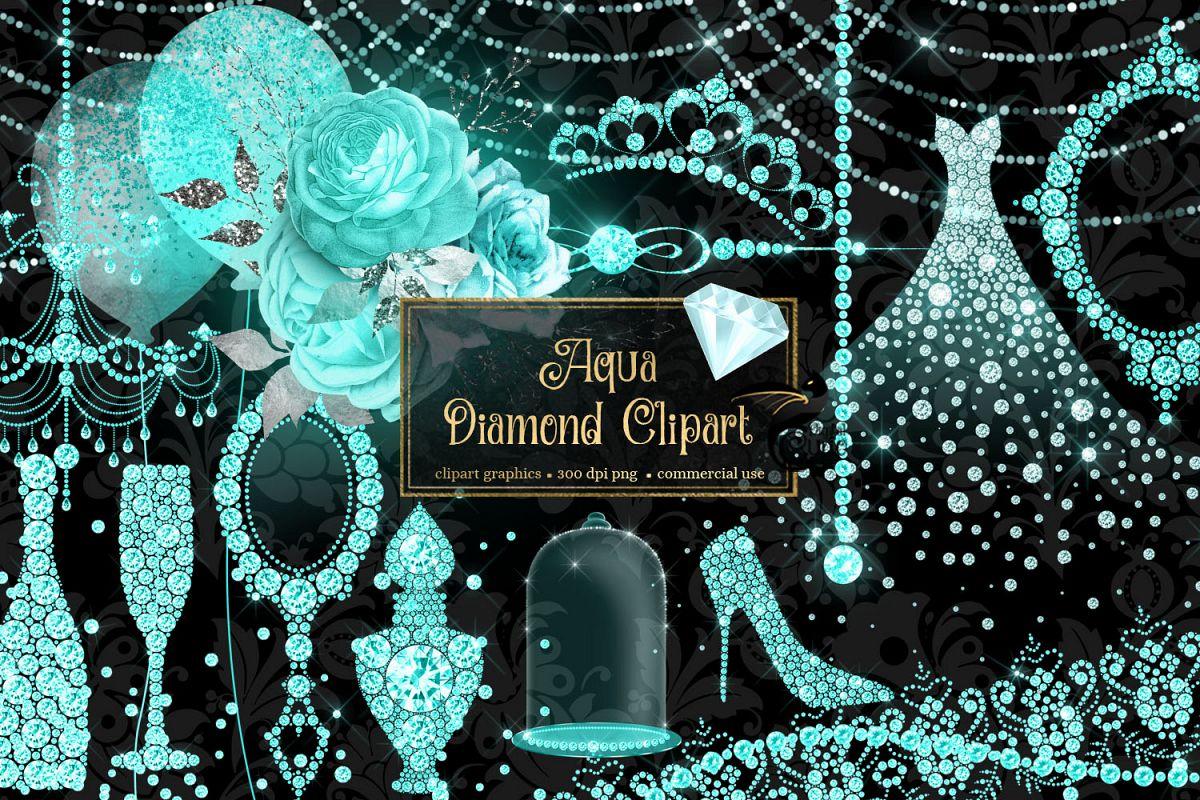 Aqua Diamond Clipart example image 1