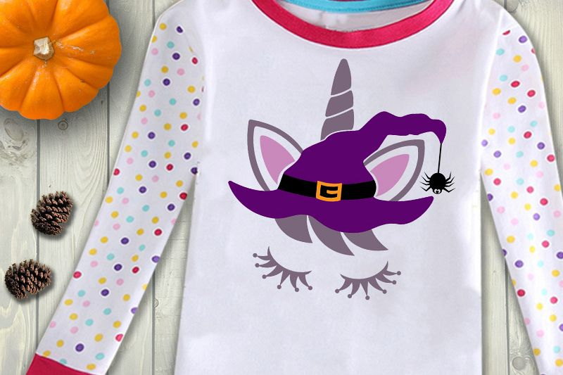 Halloween Witch unicorn face in a hat files for cut or print example image 1