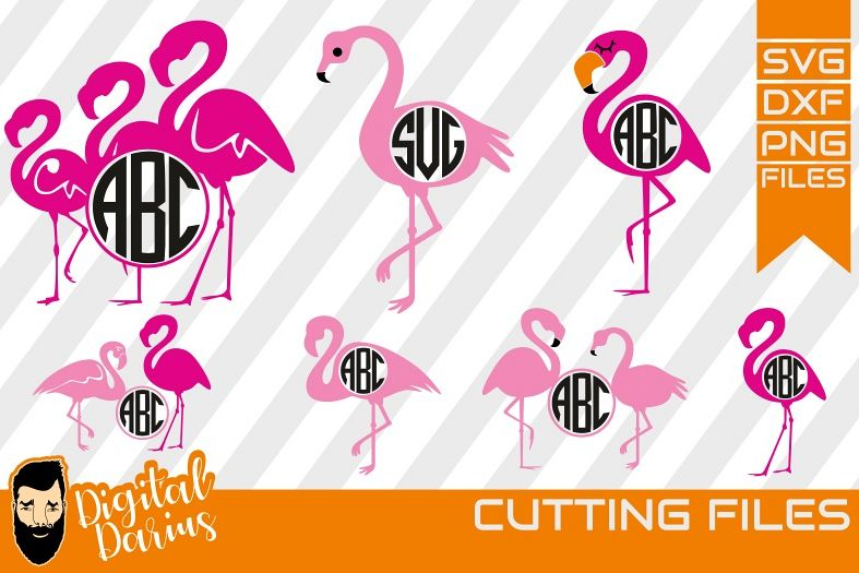 7x Flamingo svg , bird svg, Monogram, Beach Svg, Animal Svg
