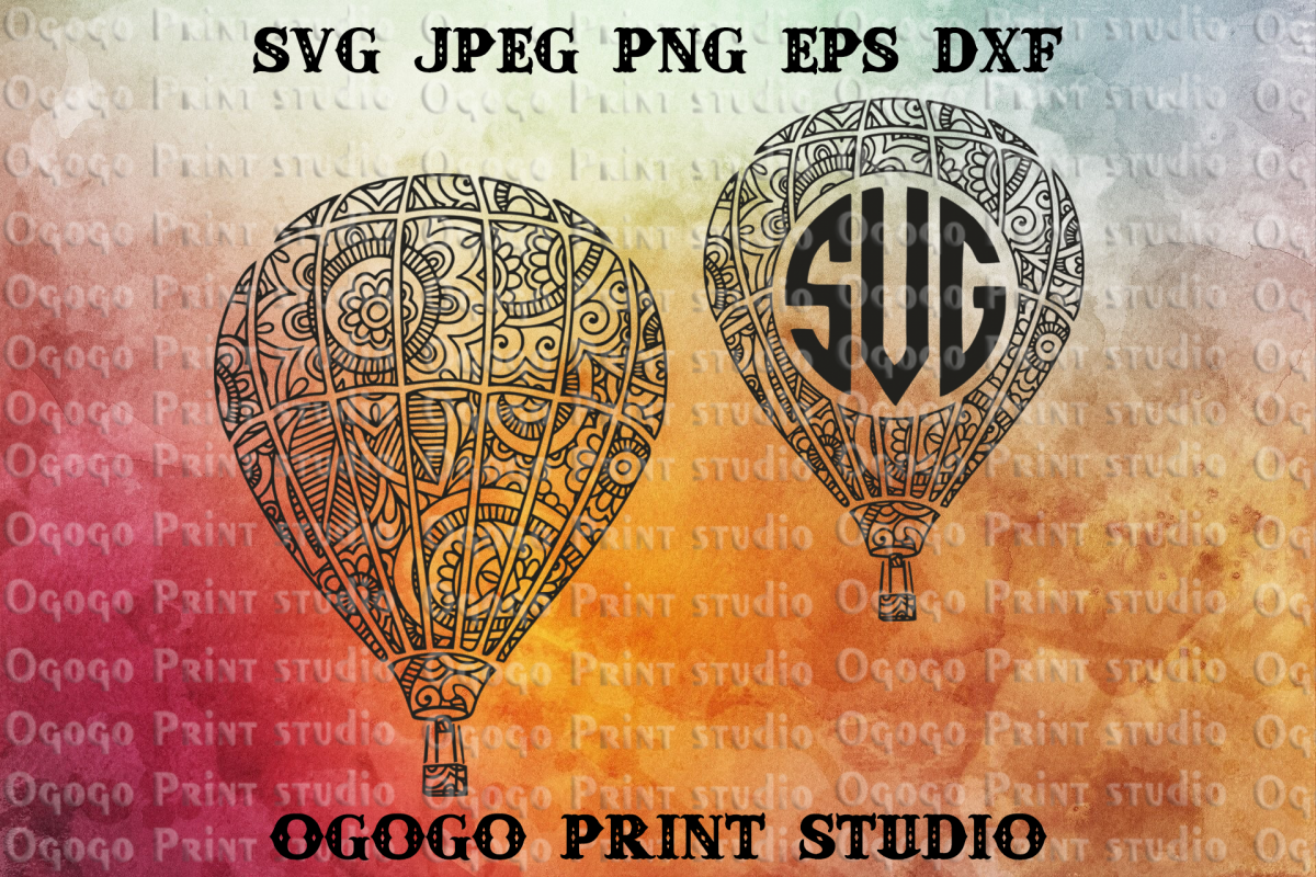 Hot air balloon svg, Monogram Frame, Zentangle svg, Mandala example image 1