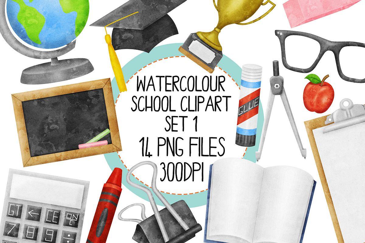Watercolor School Clip Art Set 1 example image 1