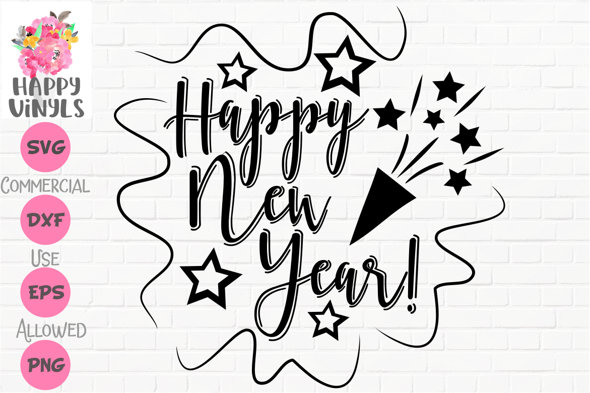 happy new year stars and streamers svg cut file for crafters