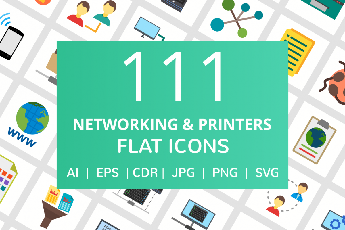 111 Networking & Printers Flat Icons example image 1