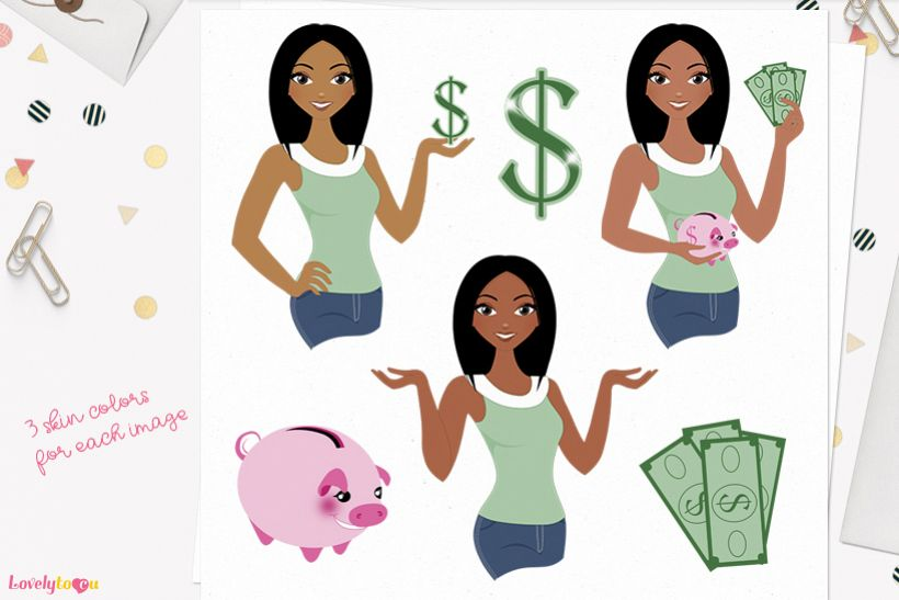 Woman money saver character clip art L122 Layla example image 1