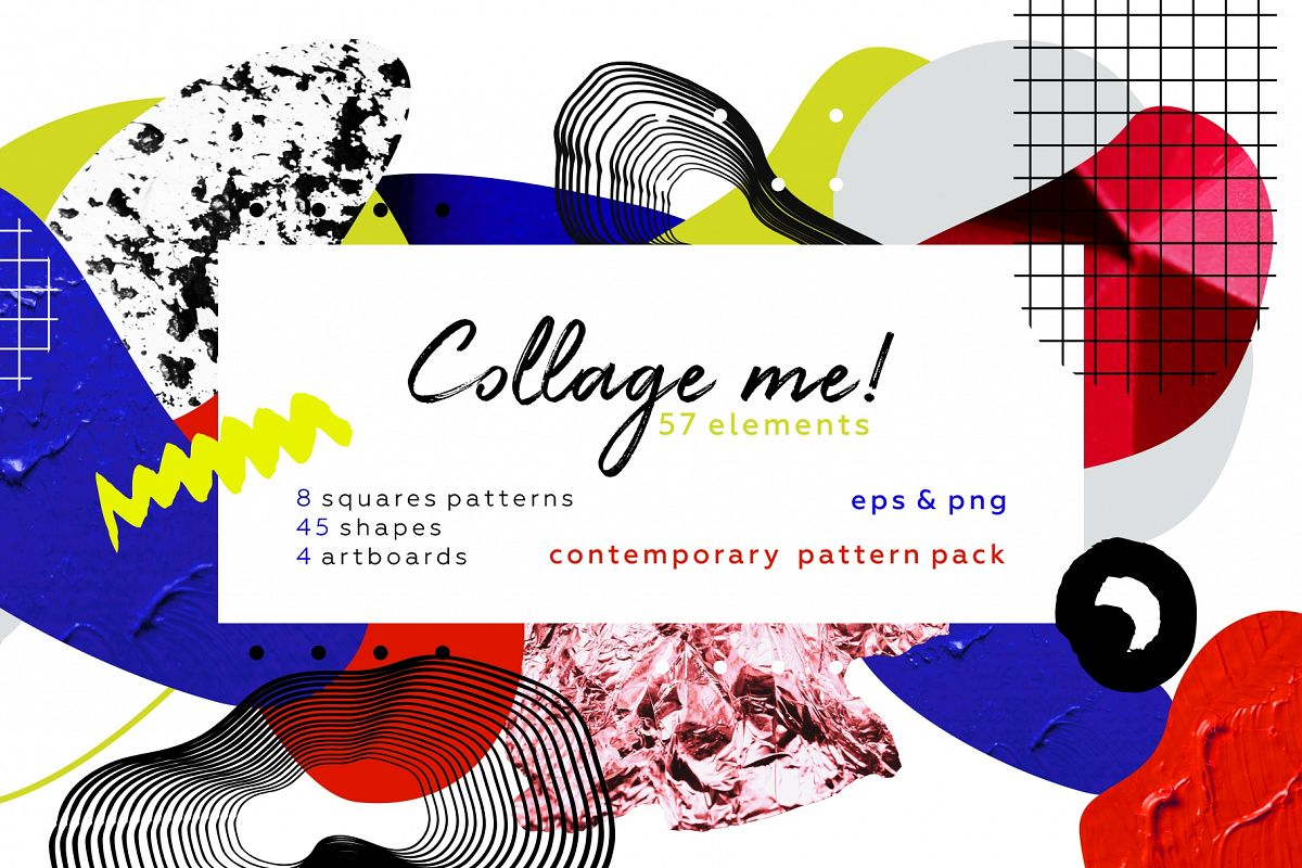 Collage me! Abstract and modern patterns and shapes set. example image 1