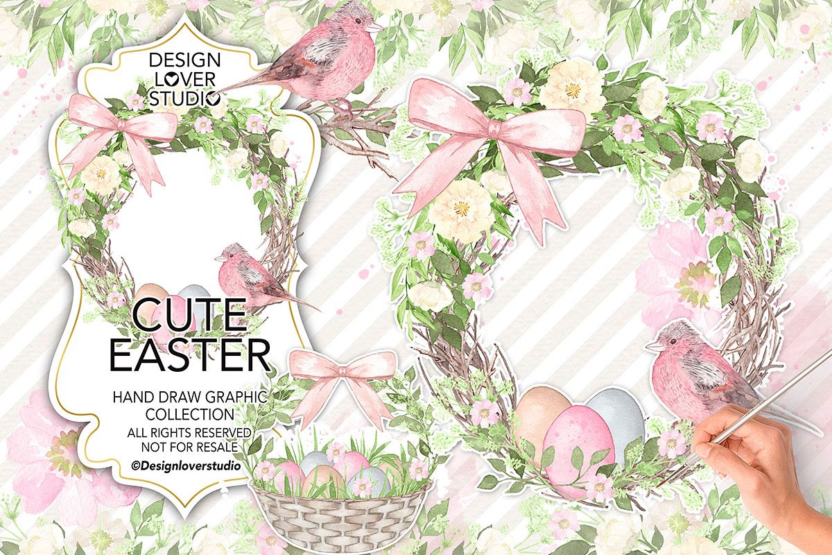 Watercolor Cute Easter design example image 1