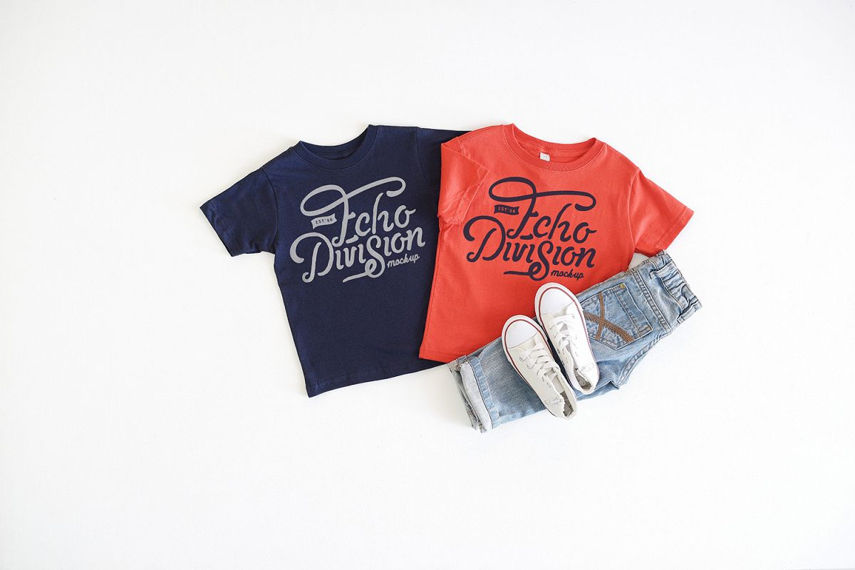 Rabbit Skins Mockup- Toddler Jersey Tee - 3321- Navy - Red example image 1