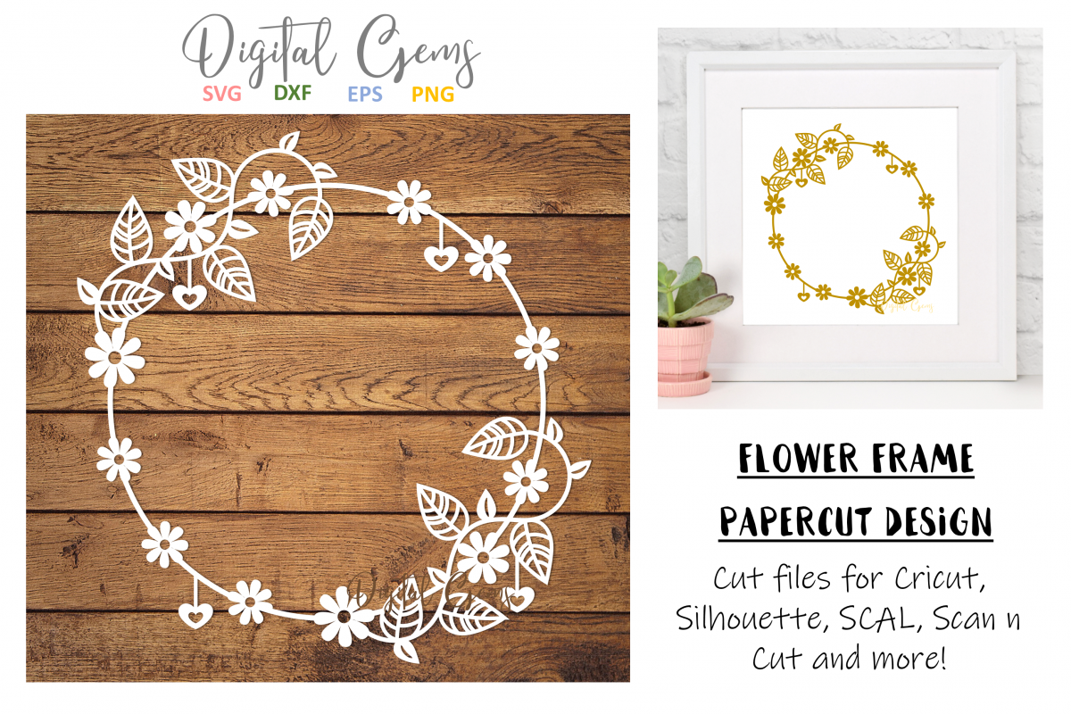 Flower frame paper cut design. SVG / DXF / EPS / PNG files example image 1