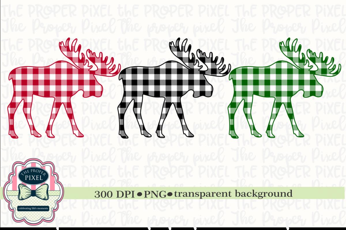 Moose Design Buffalo Plaid Christmas Sublimation Printable example image 1