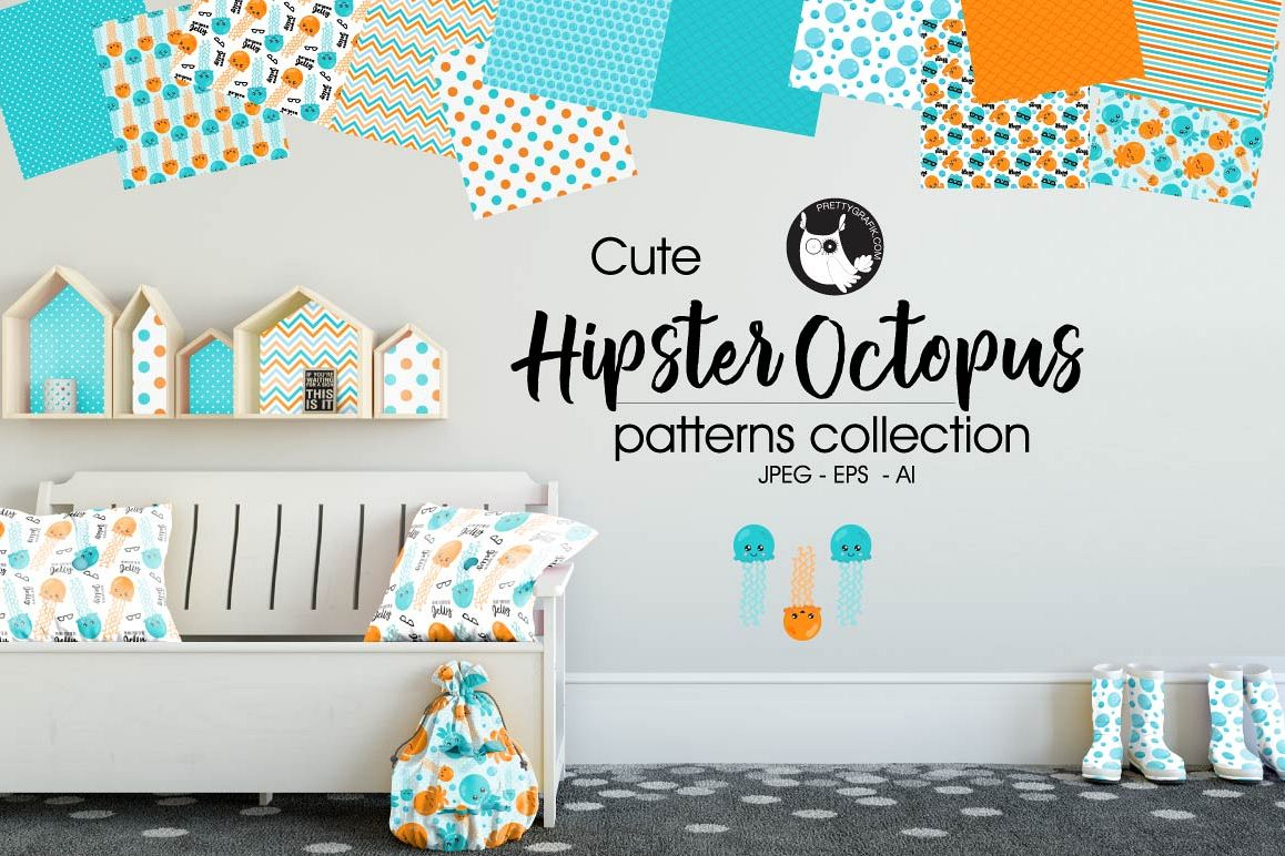 HIPSTER-OCTOPUS , digital papers example image 1