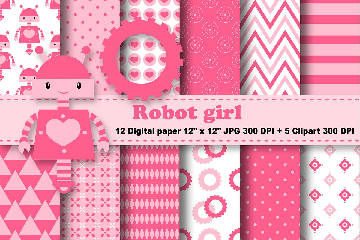 Robot Digital Paper Robot Girl Digital Paper Girls Background