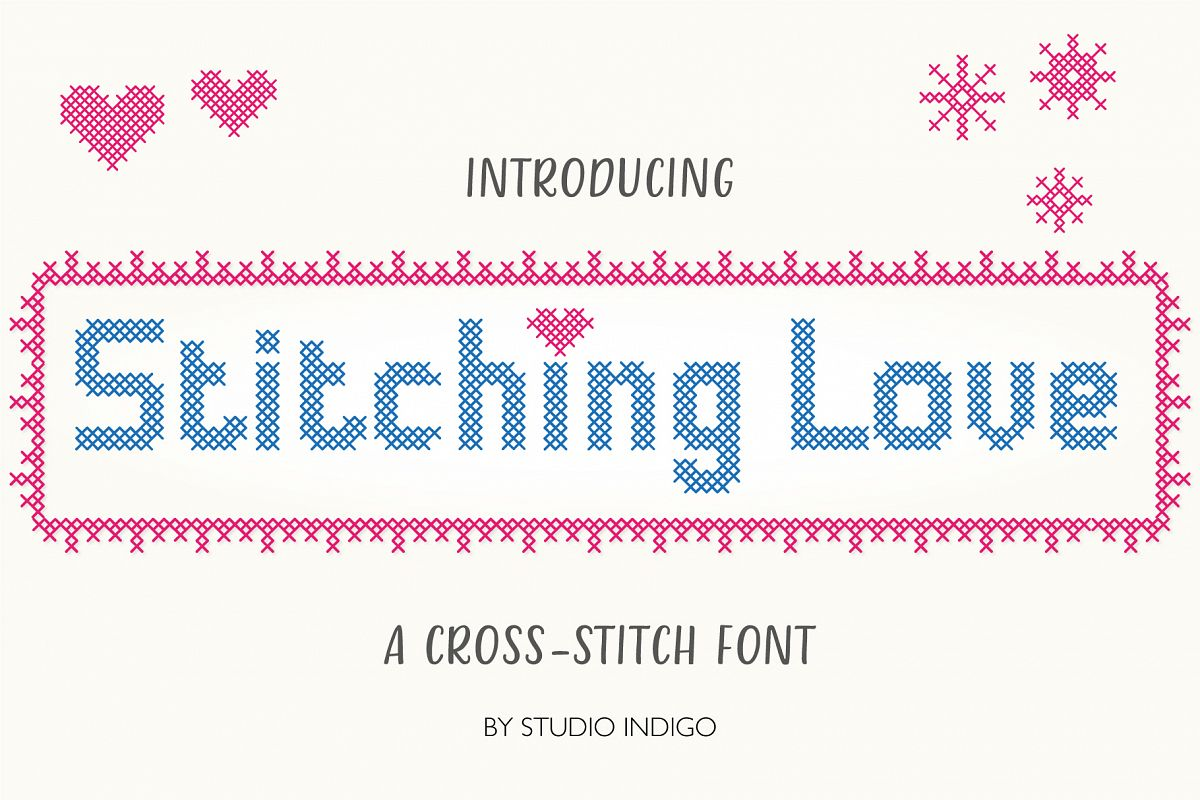Stitching Love a cross-stitch font example image 1
