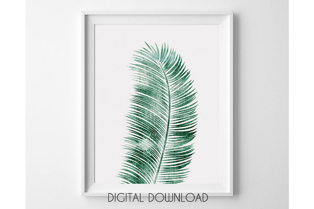 Tropical Leaf Print, Green Leaf Print, Palm Leaf Decor example image 1