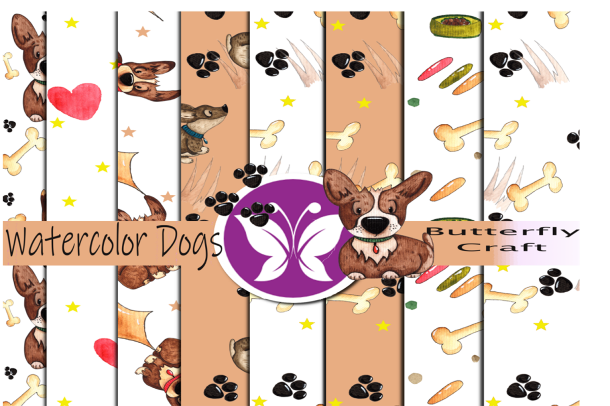 Dogs digital paper, Puppy Dog Papers, Brown Puppy Papers example image 1