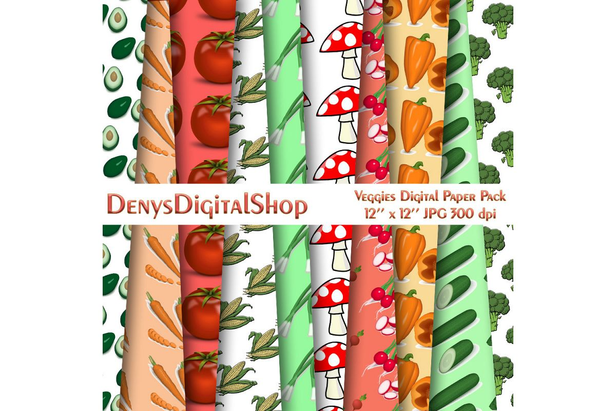 Yummy Veggies Digital Paper Pack, Carrot, Mushroom, SALE example image 1