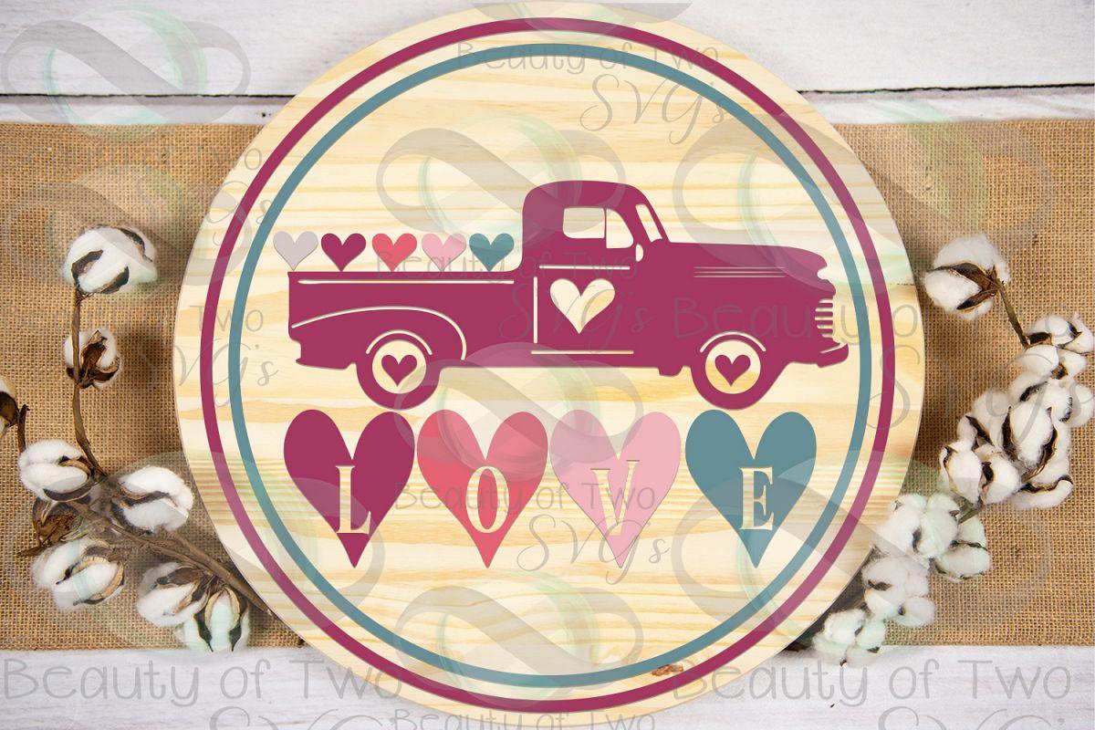 Valentines Vintage Truck love hearts wreath svg, love svg example image 1