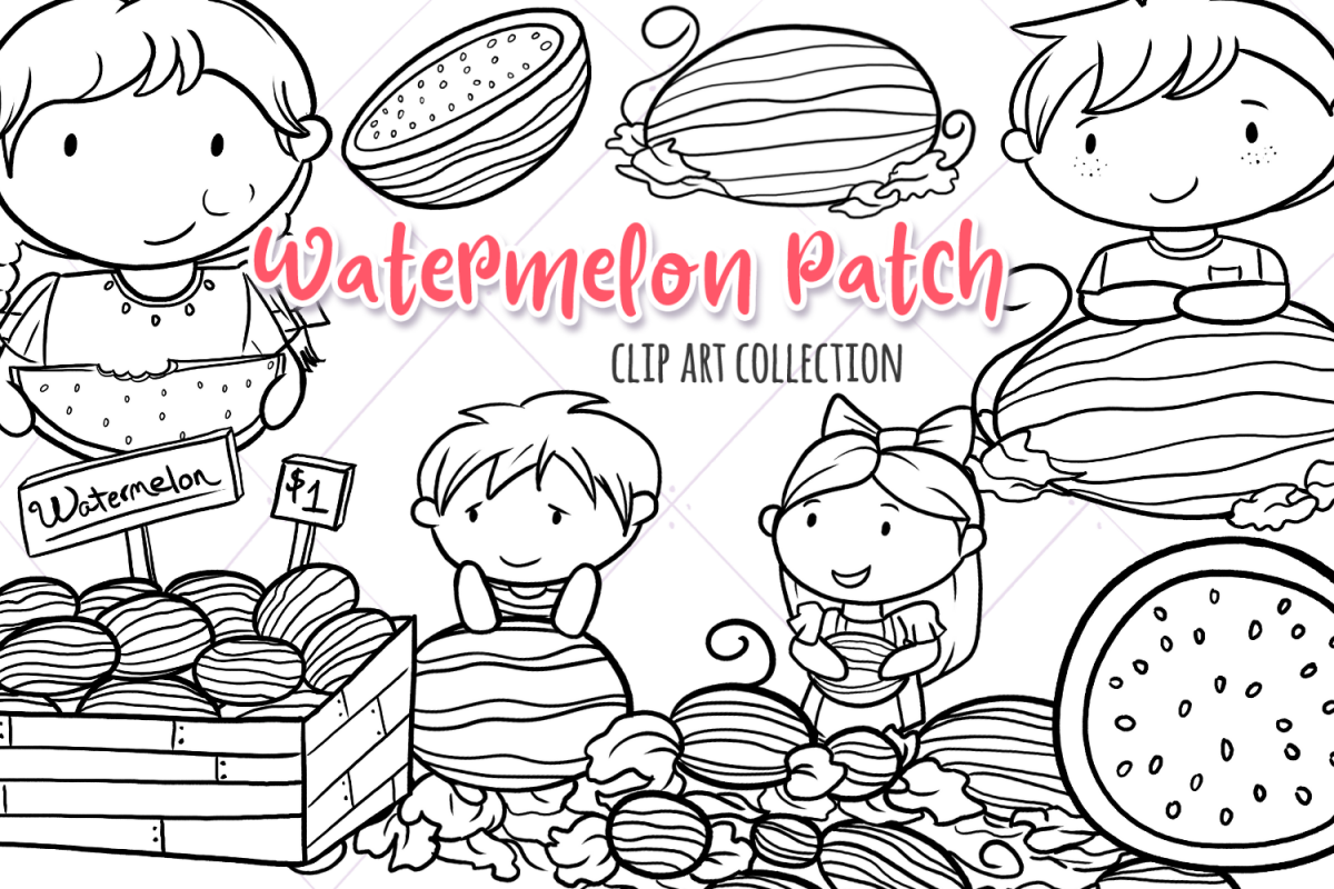 Watermelon Patch Digital Stamps example image 1