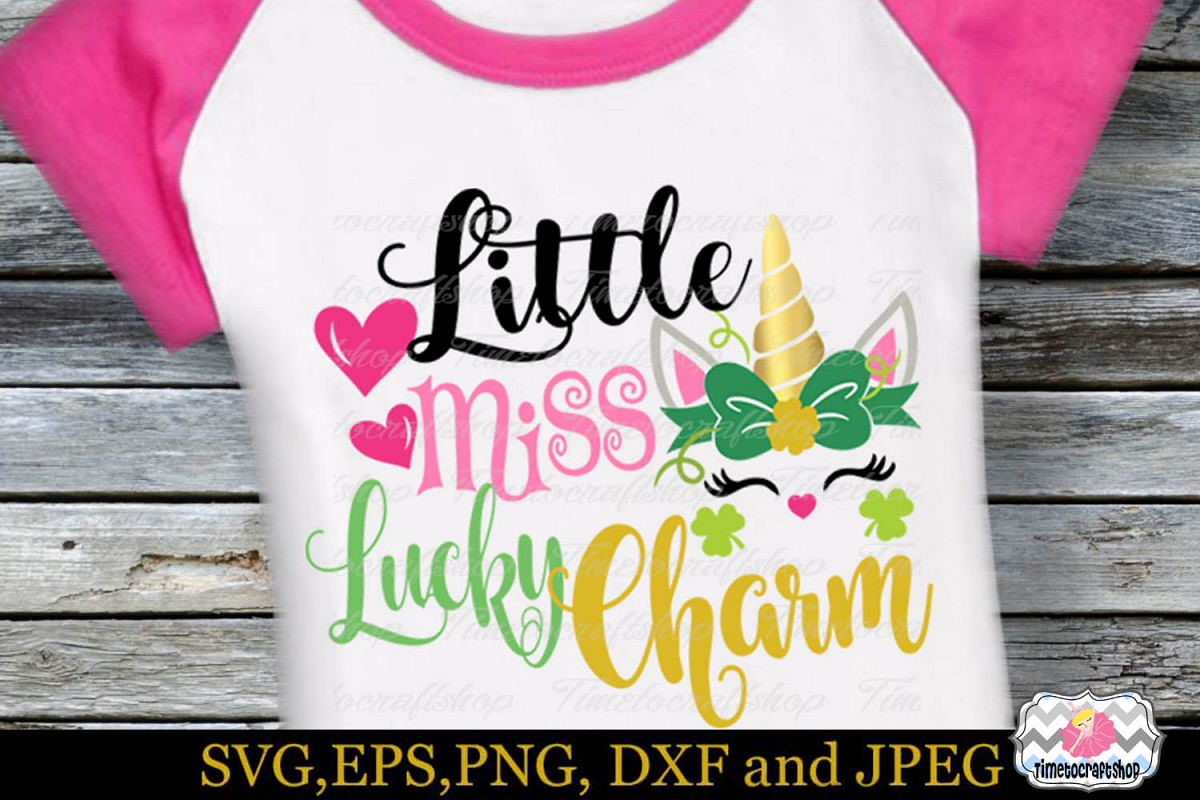 SVG, Dxf, Eps & Png St Patrick's Day Little Miss Lucky Charm example image 1