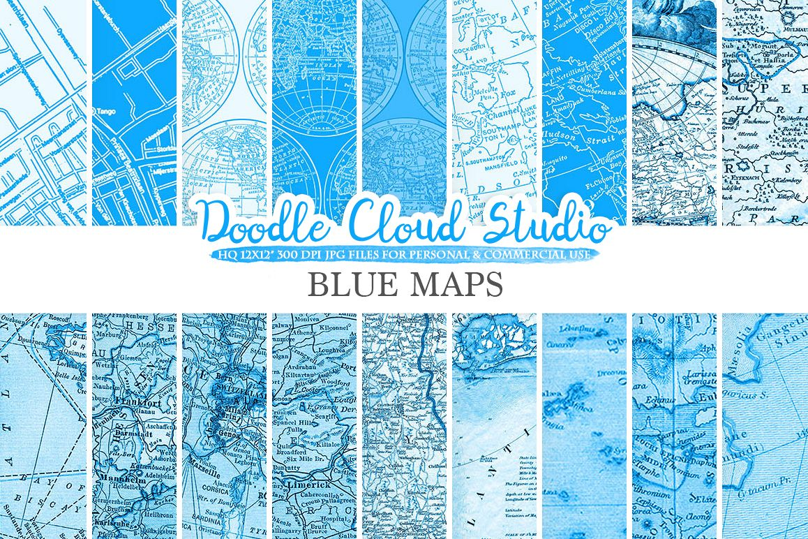 Blue Vintage Maps digital paper, Old World Map, City Map, Nautical Maps, geographic map textures, Instant Download Personal & Commercial Use example image 1