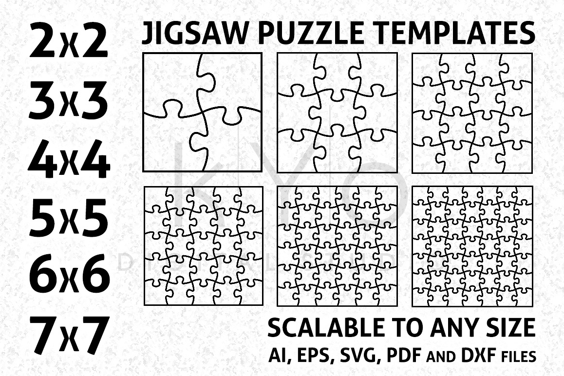 Jigsaw Puzzle Template AI EPS SVG DXF Formars Vector Image