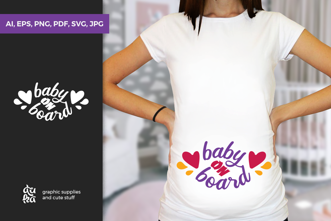 Pregnancy Announcement SVG Cut Files - Baby on Board example image 1