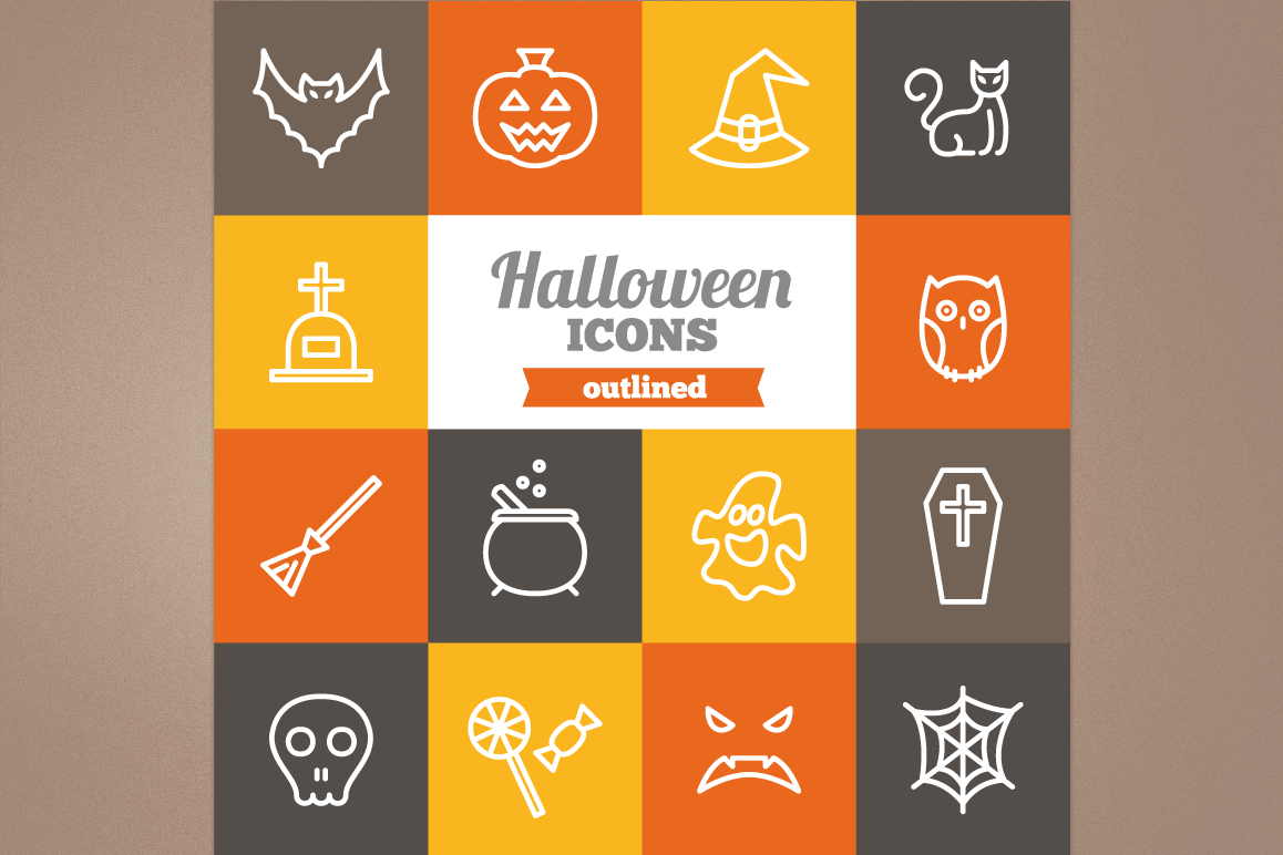 Outlined Halloween Icons example image 1