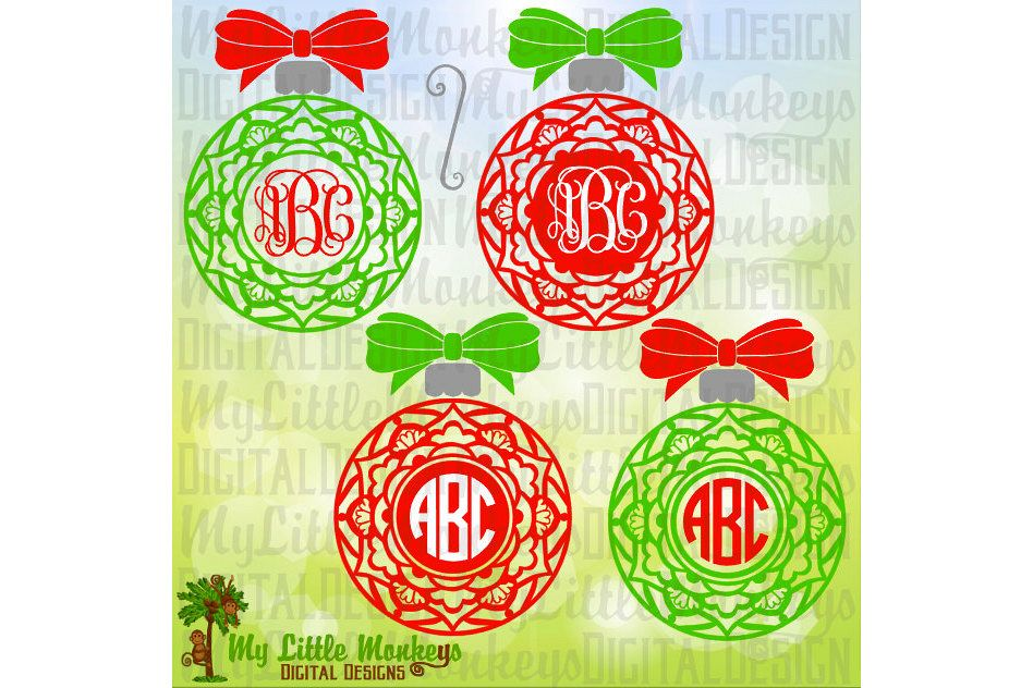 Mandala Christmas Ornament with Bow example image 1
