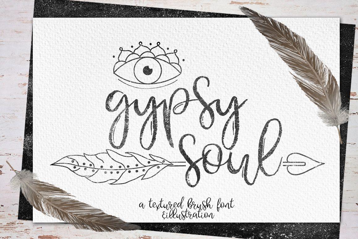 Gypsy Soul.Textured Brush Font+bonus example image 1