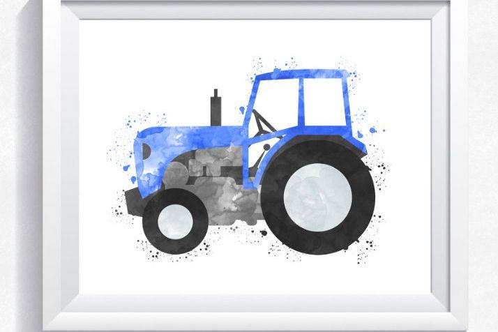 Watercolor tractor printable, tractor wall art, printable tractor ...