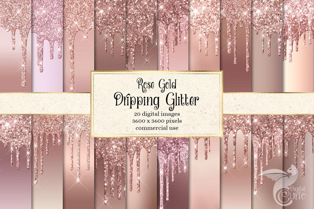 Rose Gold Dripping Glitter Digital Paper