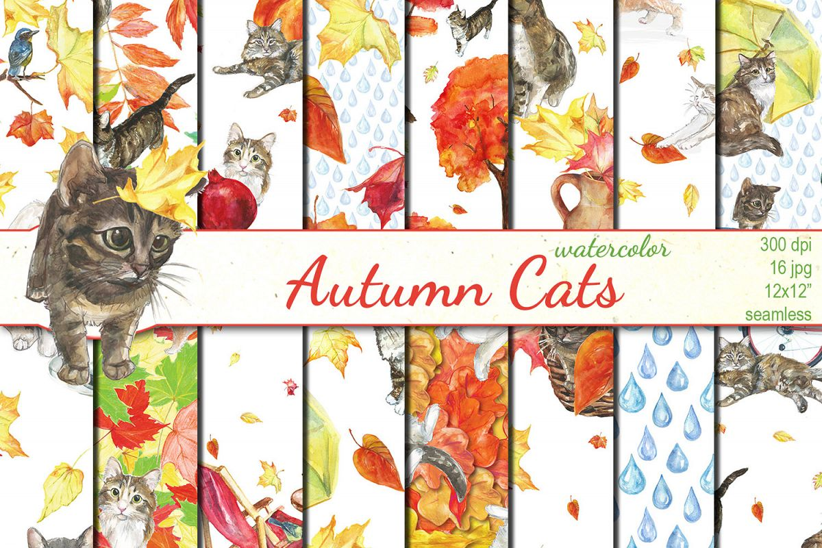Watercolor Autumn Cats seamless patterns example image 1