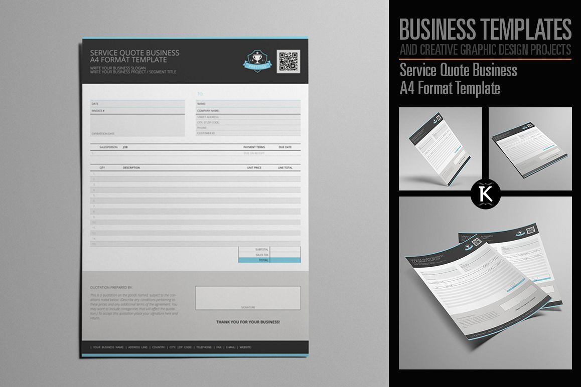 Service Quote Business A4 Format Template example image 1