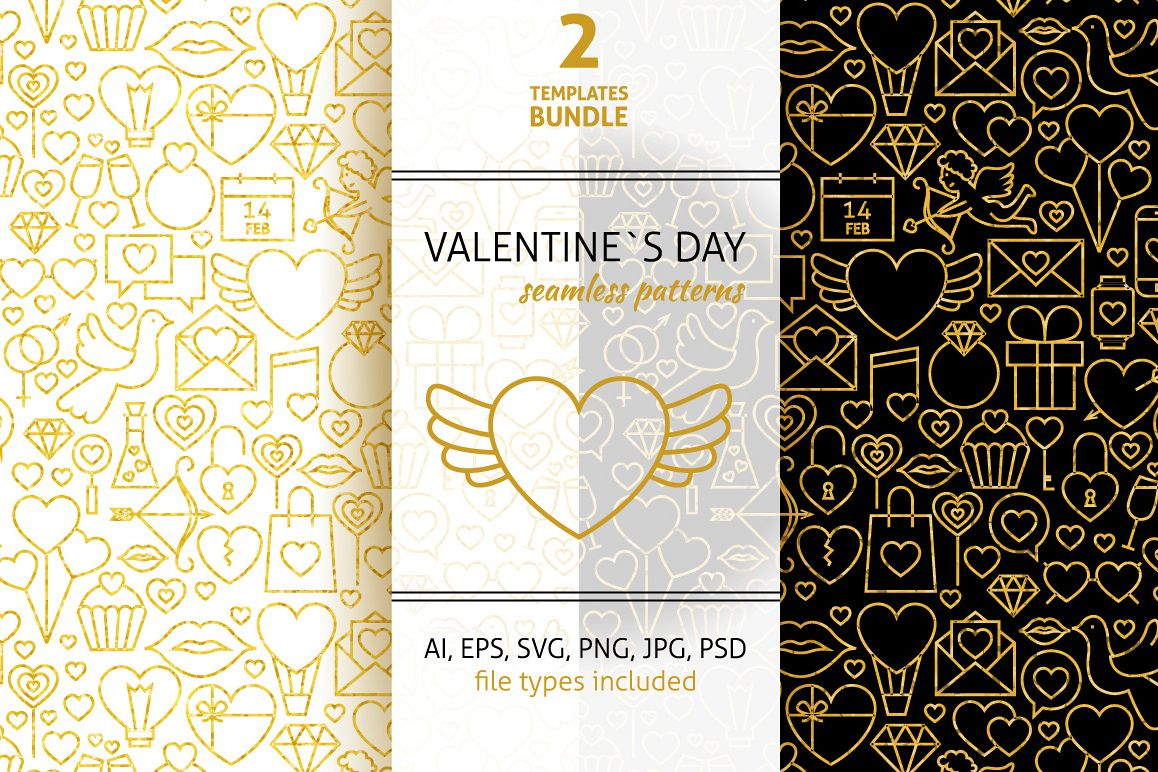 Valentine Day Line Gold Tile Pattern example image 1
