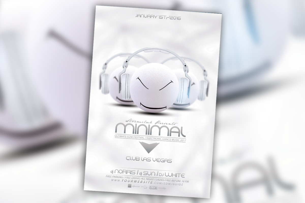 Minimal Electro House Flyer Template example image 1