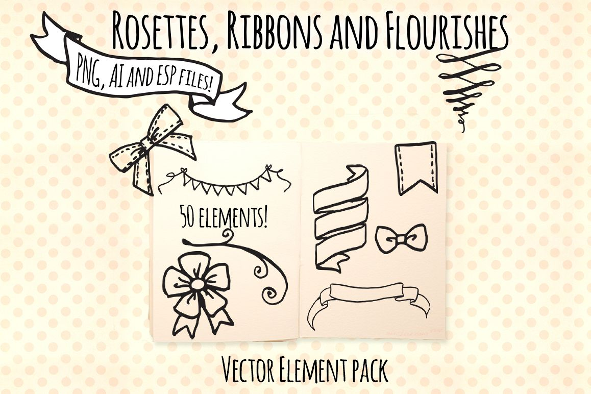 Ribbons Rosettes Flourishes Titles Vector Sketch Bundle example image 1