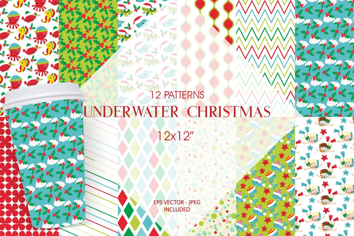 Christmas Underwater Pattern collection, vector ai, example image 1